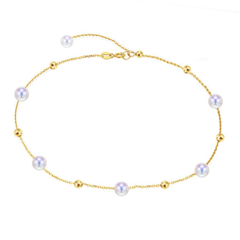 Sinya-أساور كاحل بسلسلة ذهبية 18 قيراط Au750 ، خرز دائري طبيعي ، للنساء والفتيات ، طول قابل للتعديل 18-25 سنتيمتر