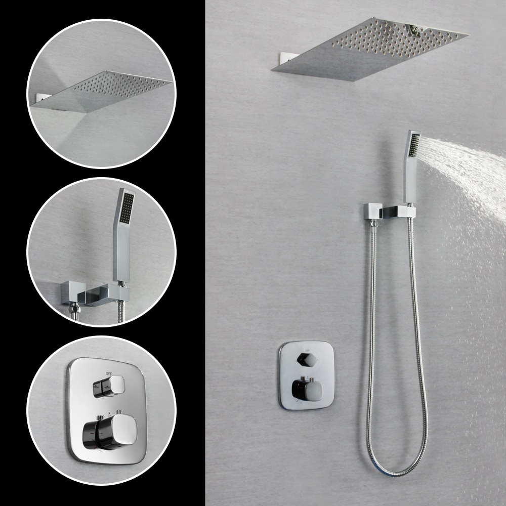 SKOWLL Wall Mounted Square Faucet Rainfall Shower Head Brass Chrome Finish Bathroom Shower Tap SK-76