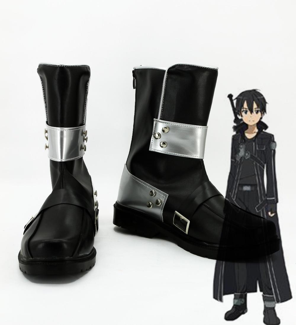 Espada arte on-line kirito kazuto cosplay sapatos sao anime kirito botas de festa