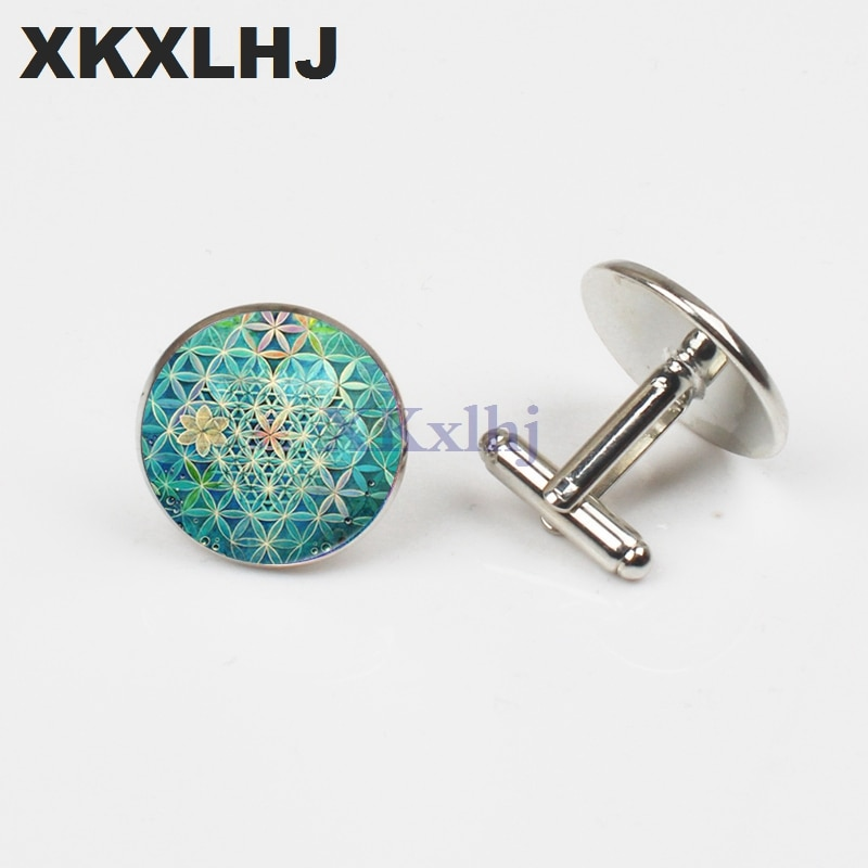 XKXLHJ 2018 New Yoga Lucky Amulet Flower of Life Art Photo Zen Cuffs Glass Round Buttons Jewelry Gifts