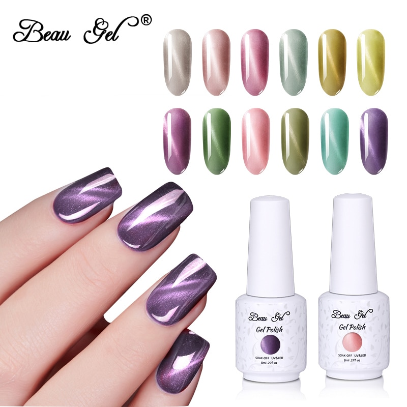Beau Gel 8ml Jade Cat Eye Gel Nail Polish Soak Off UV LED Gel Lacquer Semi Permanent Magnetic Hybrid Varnish Nail Art Gelpolish