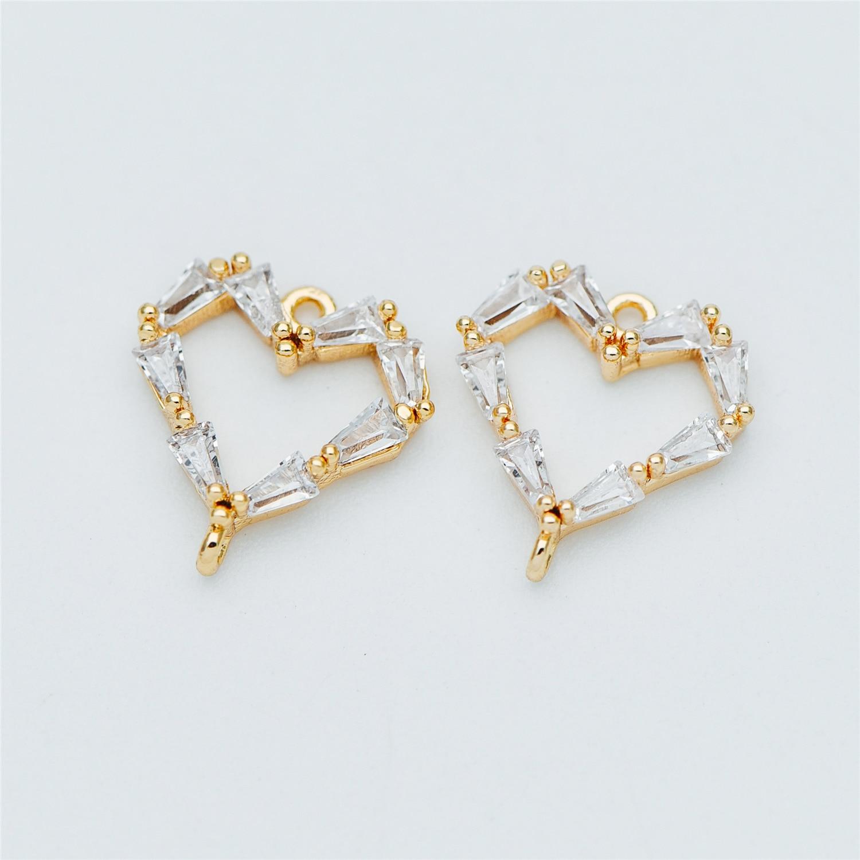 10 piezas CZ pavé conectores de corazón 12x13mm, colgantes de corazón de Latón chapado en oro (GB-635)