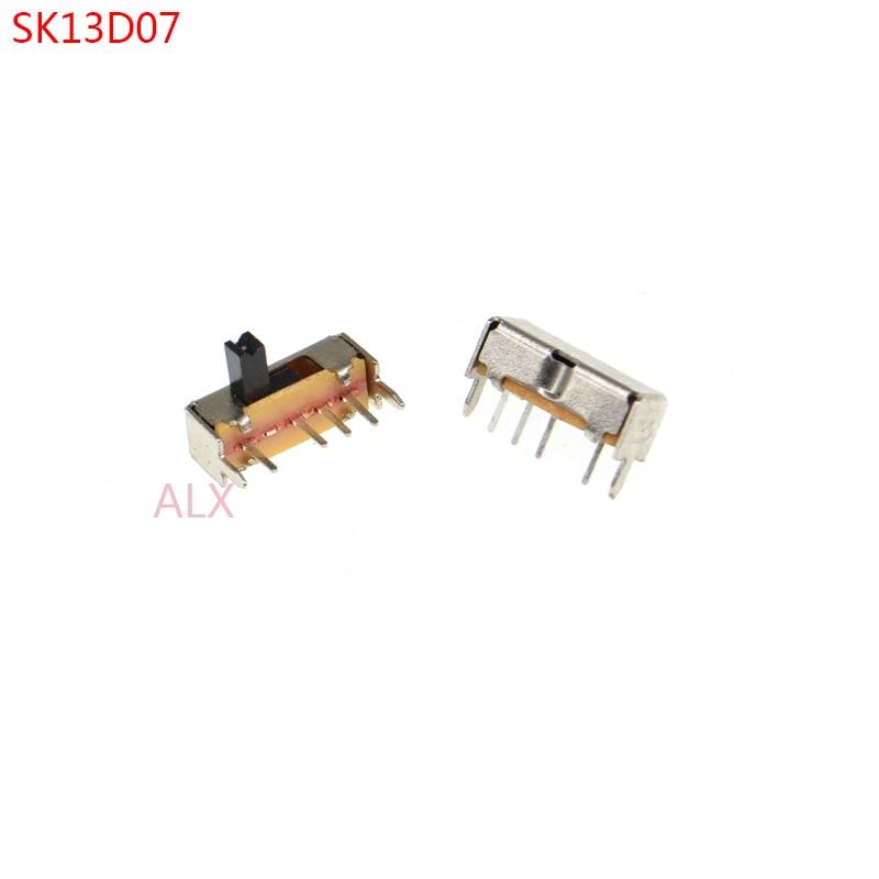 20 piezas SK13d07 interruptor de palanca 4PIN 1P3T manija alta 4MM paso 2,0 MM ángulo recto Interruptores deslizantes sk13d07vg4