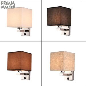 5W Fabric led wall lights bedside wall lamp black white wall sconce modern wall light for bedroom Nordic E27 85-285V cloth shade