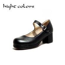 2020 nuevo damas negro dulce Color caramelo Mujer Zapatos de salón Mary Jane tacón bajo Lolita Bowknot zapatos para mujeres zapatos de princesa zapatos gran 8