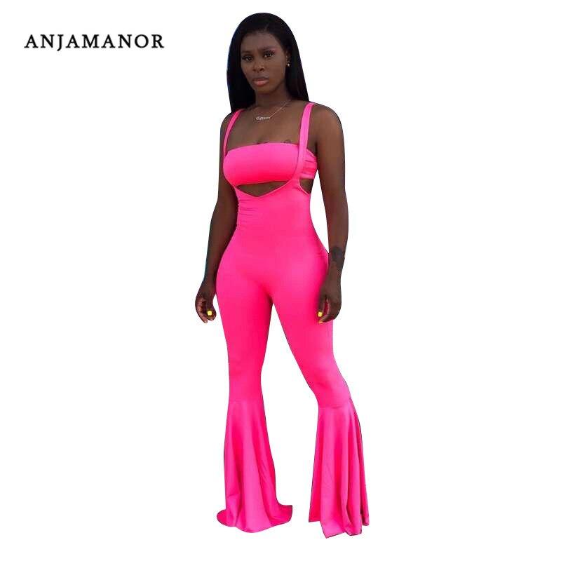 ANJAMANOR Sexy 2 piezas conjunto Club de las mujeres trajes Top y cintura alta llamarada pantalones de campana inferior verde neón rosa mameluco D72-AF15