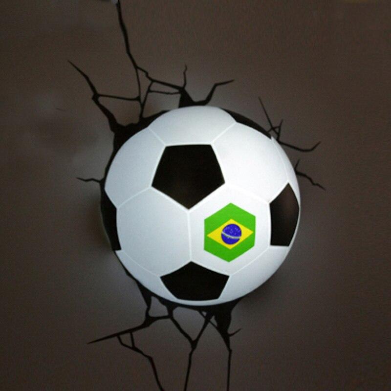 BOCHSBC Football Dream Wall Light 2018 New Basketball Led Lamp for Bedroom Living Room Weltmeisterschaft Brazil Football Lamps enlarge