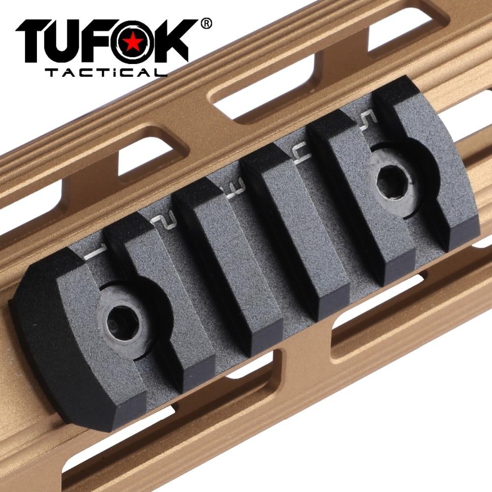 TuFok m-lok 5 ranuras sección de carril Ultra delgado Montaje del visor del Rifle Mlok Picatinny Weaver carril adaptador Picatinny riel de montaje Base