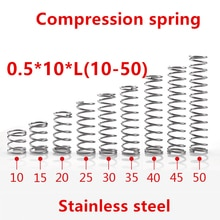 Micro ressort de Compression en acier inoxydable   50 pièces/lot 0.5*10/10/15/20/25/30/35/40/45/50mm ressort de Compression Micro 0.5mm