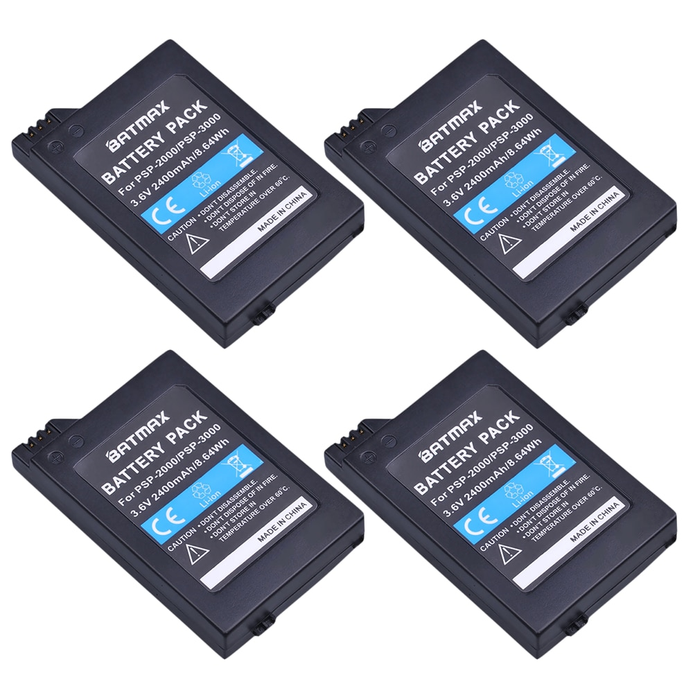 4 قطعة 3.6V 2400mAh PSP 2000 بطاريات لسوني PSP2000 PSP3000 وحدة