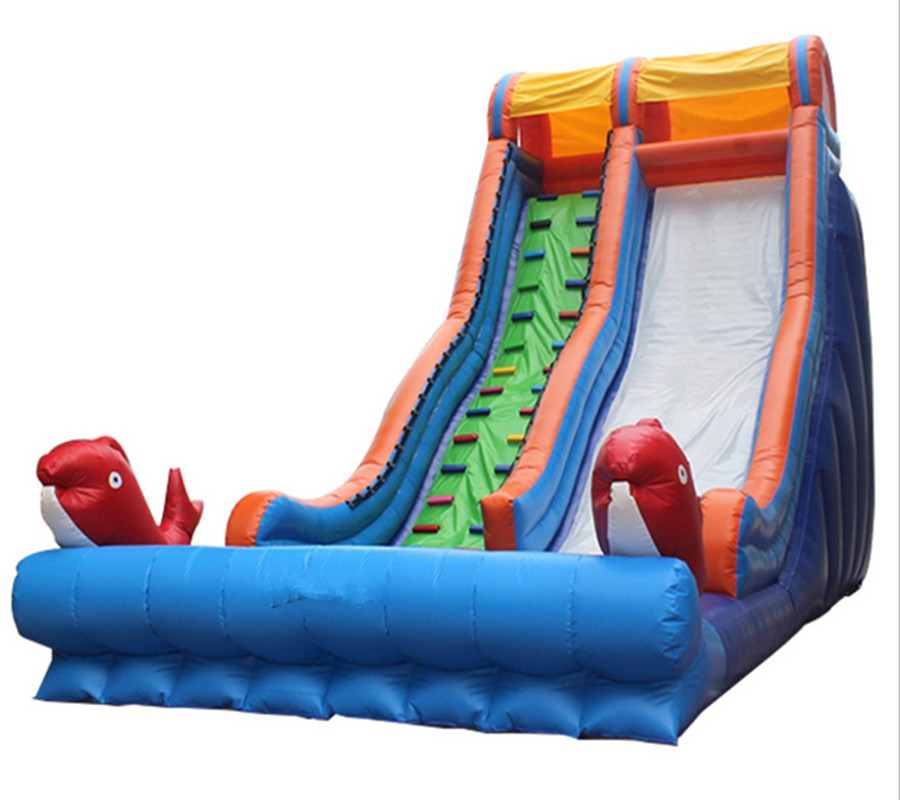 Tobogán seco inflable gigante comercial lona inflable de PVC para niños