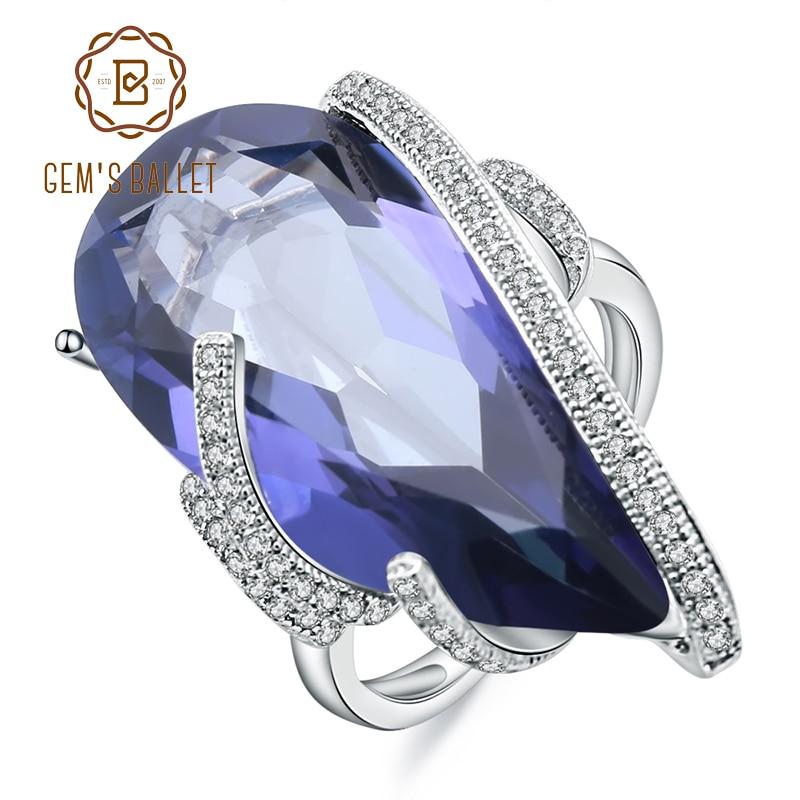 GEMS BALLET 17.8Ct Natural iolita azul gema de cuarzo mística anillos plata esterlina 925 cóctel anillo para mujeres joyería fina