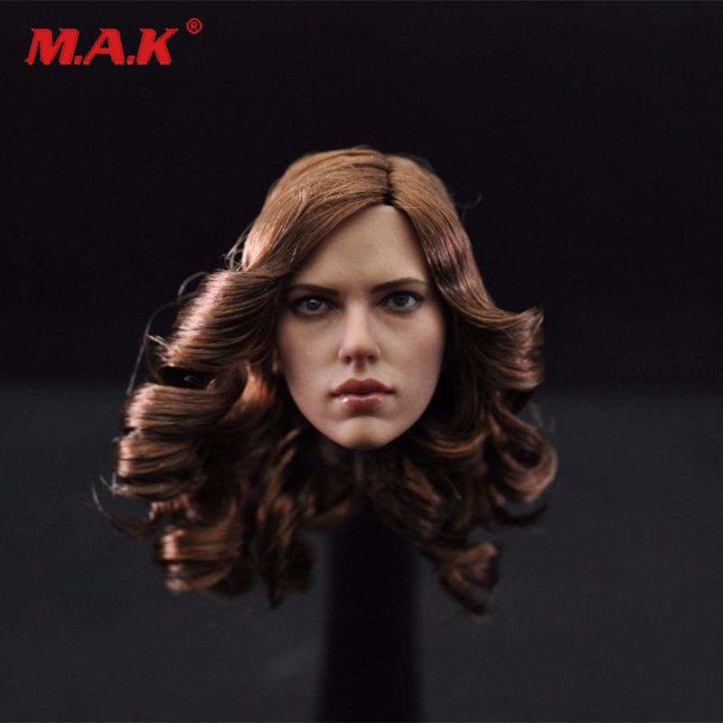 customized so toys so t01 so t03 1 6 scarlett johansson black widow battle suit clothes set for 12 inches ph doll body figure 1/6 Woman Scarlett Johansson Female Girl Head  with Brown CurlyCarving Sculpt Model Toys for 12 Action Figure