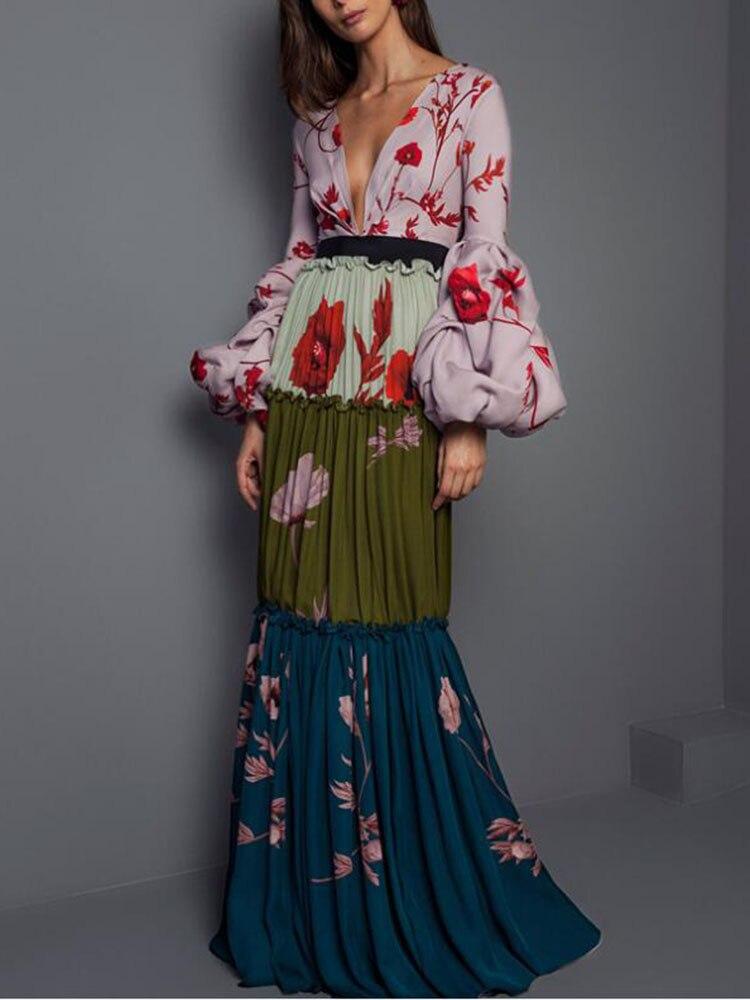 Mujer Primavera Verano cuello pico manga larga acampanada vestido de empalme largo para mujer elegante pueblo estampado flor vestidos de fiesta
