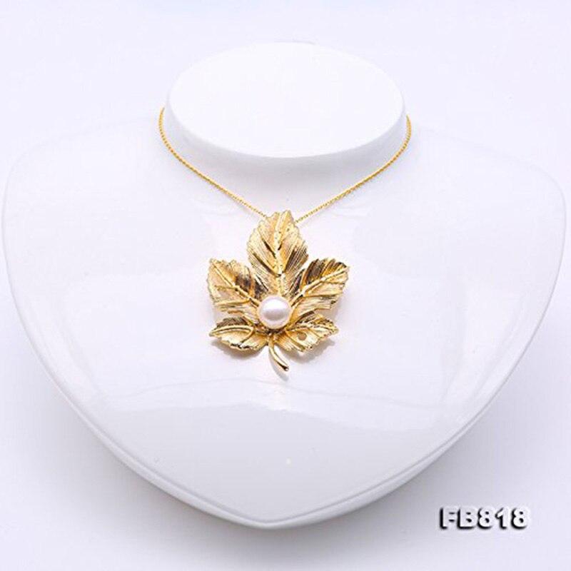 Broche de hoja de arce dorado JYX con 9,5mm de lavanda, broches de hoja de perla de agua dulce Natural, regalo para mujer