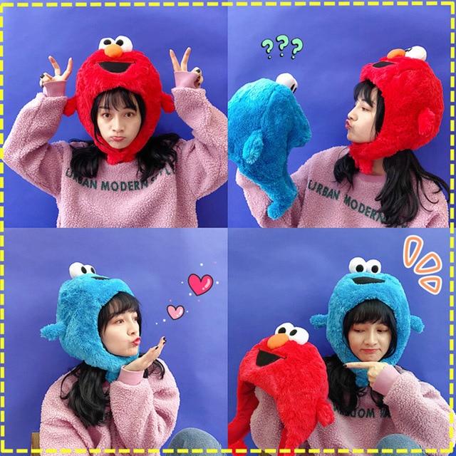 Haute qualité sésame rue Elmo Cookie monstre chapeau casquette en peluche douce poupées jouets en peluche figure un cadeau pour un enfant