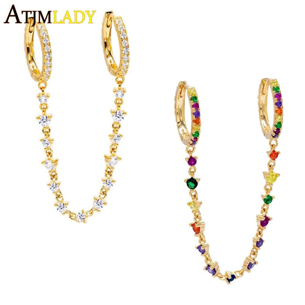 Mini aros dorados de doble agujero con cadena de zirconia cúbica Arco Iris, regalo para novia 2019, pendientes de borlas de colores encantadores de alta calidad