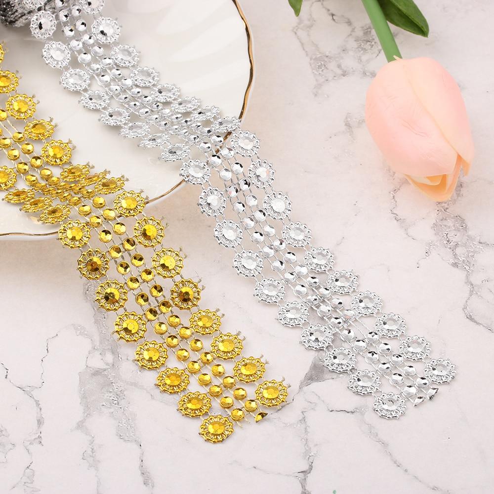 Rollo de malla hueca plateada/dorada con diseño de flor del sol, cinta de diamante para boda, rollo de malla de cristal de tul, calcomanía de fiesta 1 yardas