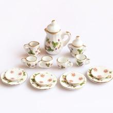Ensemble de thé créatif en céramique Mini fleur verte motif porcelaine en céramique ensemble de thé enfants jouet Mini cuisine jouet pour enfants adultes 15 pièces