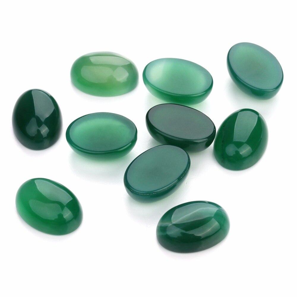 LOULEUR 10 unids/lote 13*18 verde ágata Piedra Natural cabujón cuentas parte posterior plana verde creado cuenta para hacer joyería DIY