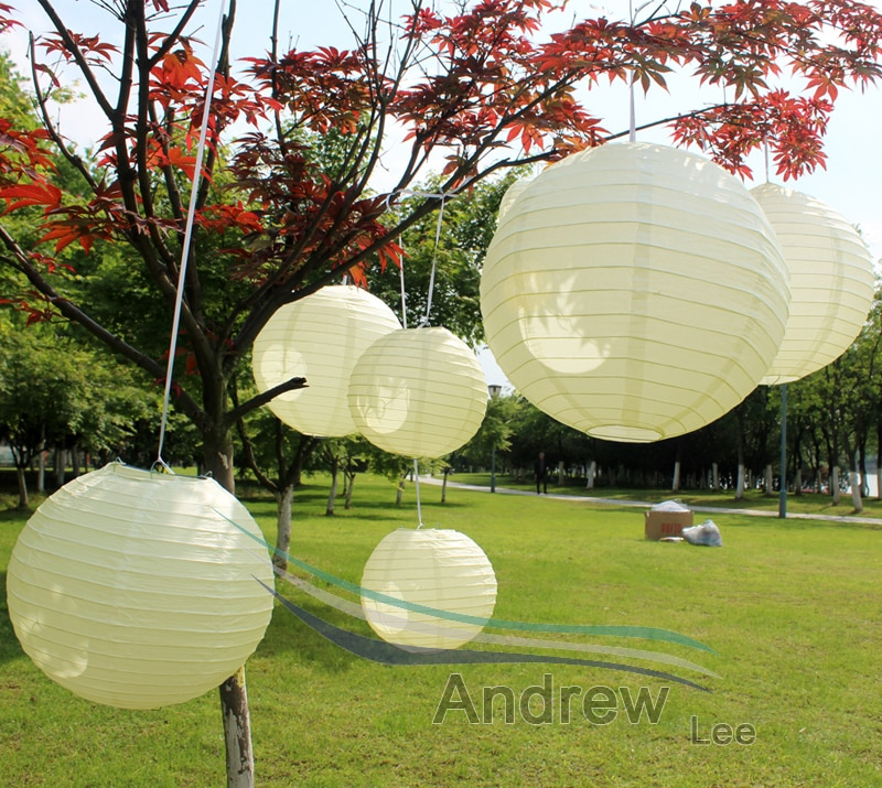7 pçs/lote tamanho misto (4-16 polegada) cor do marfim lanternas de papel chinês lâmpada led diy padrão presente banquete de casamento decoração de festa ao ar livre