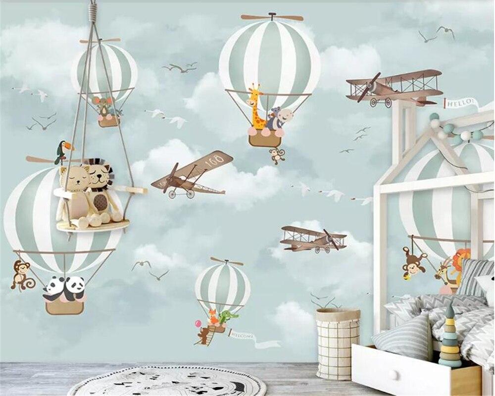 Custom wallpaper 3d mural Cartoon hot air balloon airplane animal children room background wall wallpaper for walls 3 d