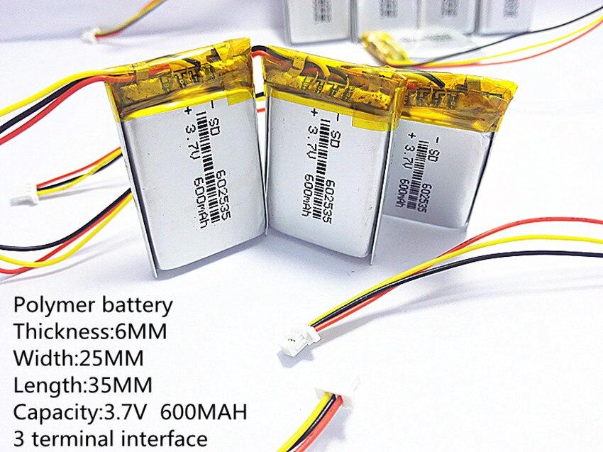 3,7 V batería de polímero de litio de 1,0 MM 3pin 602535 conector 062535 600mah el video grabador 388 F300 F200 F210 QStar A5 DVR 710