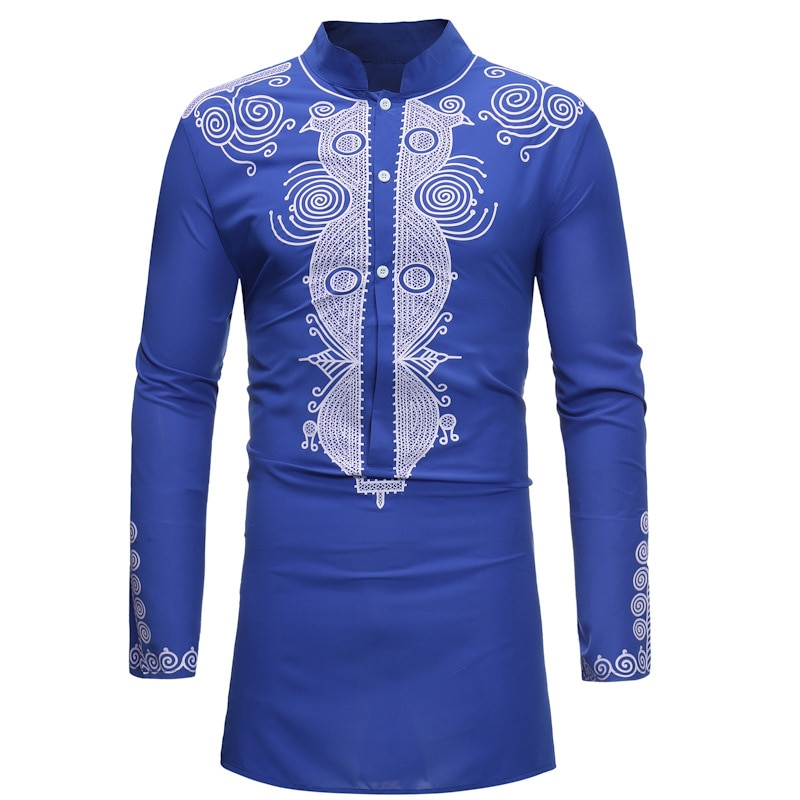 Mens Hipster African Dashiki Longline T-Shirt 2021 Fashion Stand Collar Long Sleeve Button Tee Shirt Homme African Clothes Men