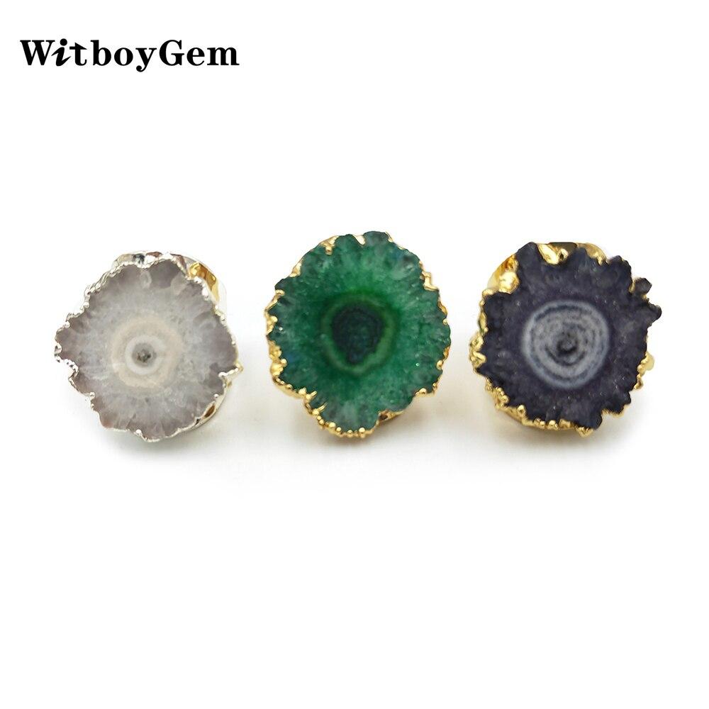 WitboyGem ajustable piedra de cuarzo natural Druzy anillos mujeres oro plata cobre Arco Iris sol flor Stalactite Drusy anillo RI003
