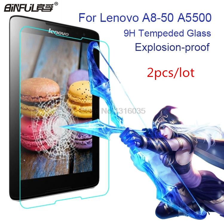 Venda quente 2pcs 0.3mm 9H Dureza Anti-Shatter Premium Vidro Temperado Para Lenovo A8-50 A5500 Filme protetor de tela de 8 polegadas