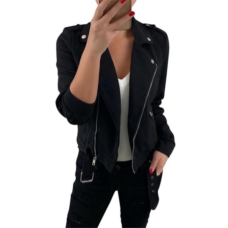 Yashangyi 3XL chaqueta de Mujer abrigo de moda Chaquetas cortas Outwear otoño cremallera Turn-Down Collar Chaquetas Mujer abrigo Casacas Mujer