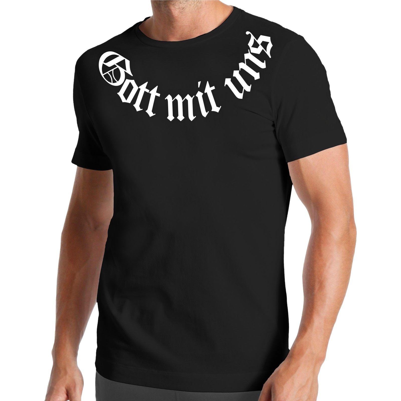 Camiseta Gott Mit Uns, Camisetas para Hombre Jesús, camiseta para Hombre, Camiseta de algodón a la moda para verano, camiseta de manga corta