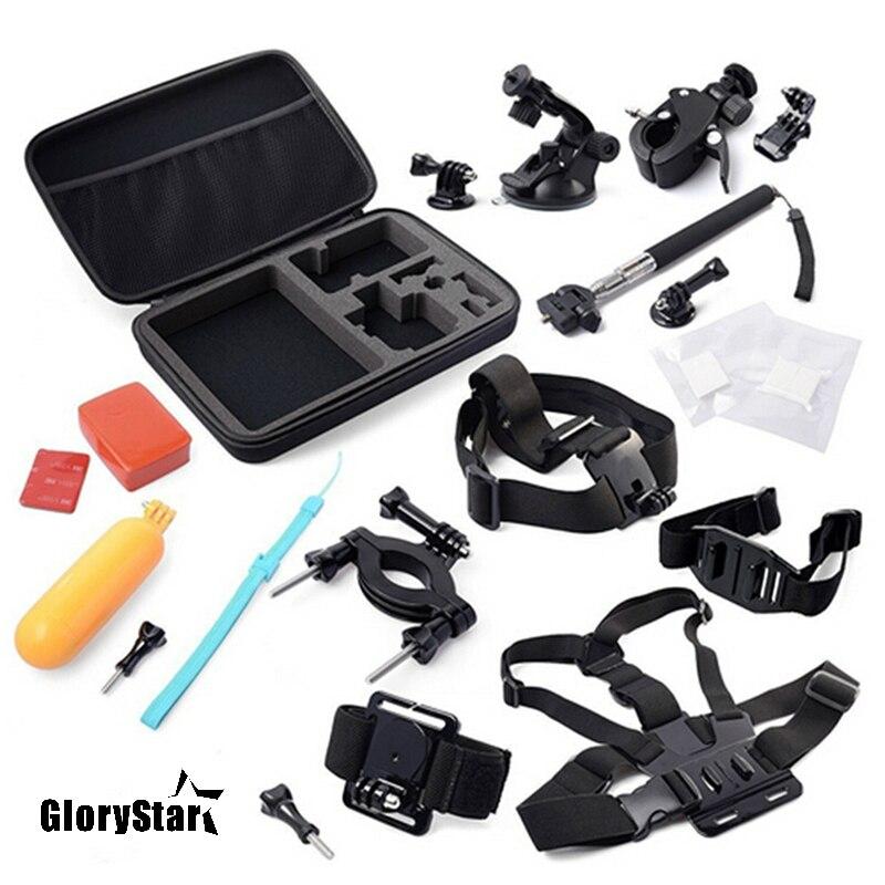 Kit de accesorios de cámara de acción pecho + correa para la CABEZA + agarre flotante + tija de manillar + monopié + ventosa para SJCAM/Eken