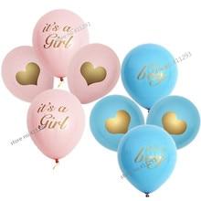 Ballon de réception-cadeau pour bébé   Couleur or scintillante, imprimé, rose clair, ballon rose clair, a girl, cest un garçon, oh Baby, 12 pièces/lot