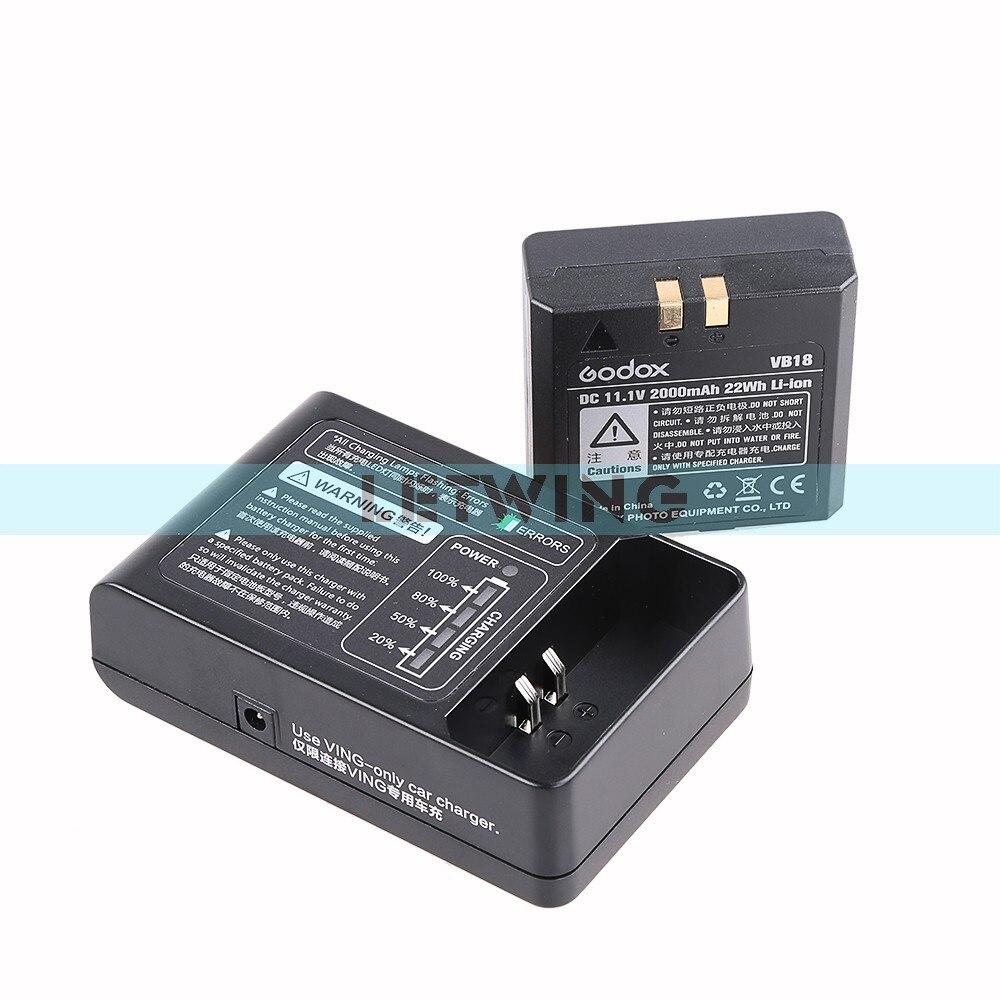 Godox 2015 nueva batería de iones de litio DC 11,1 V 2000mAh 22Wh VB18 + cargador de batería VC18 para Wistro V860 V850 Flash Speedlight