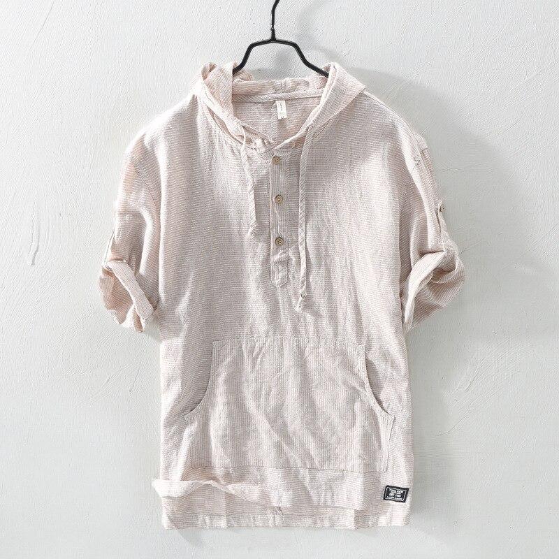 Рубашка мужская с капюшоном и воротником, модная блуза из хлопка в японском винтажном стиле, Повседневная рубашка с рукавом до локтя, пулове...