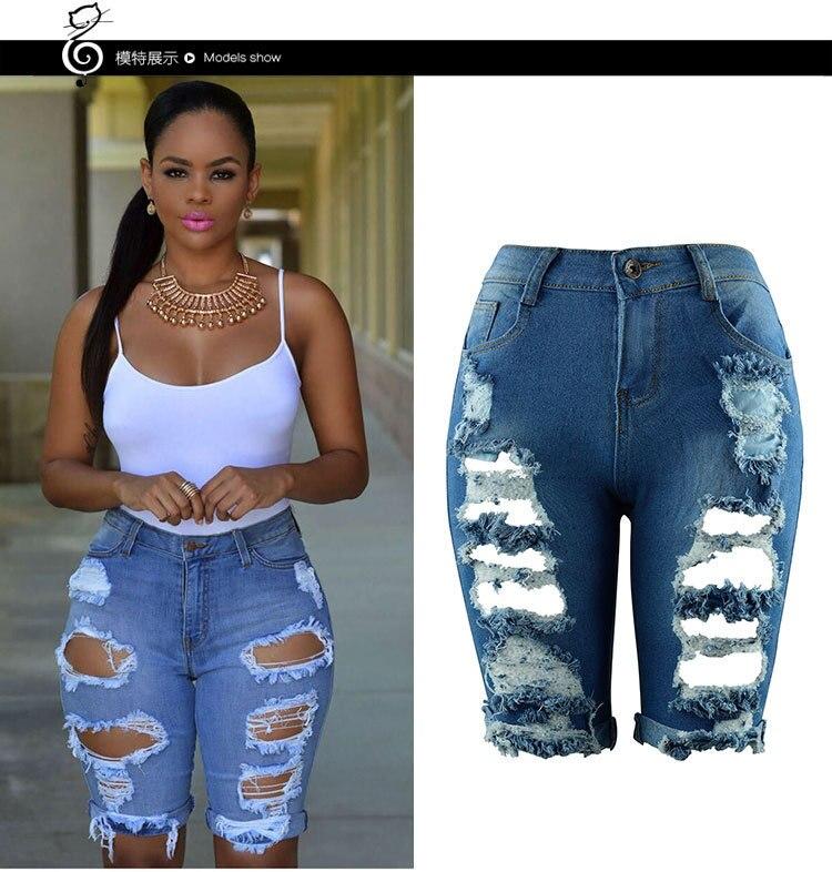 LIVA gran oferta pantalones con cintura alta Casual Denim Hole Skinny pantalones con diseño rasgado alta cintura Stretch Jeans de talla grande femenina Jean corto para mujer