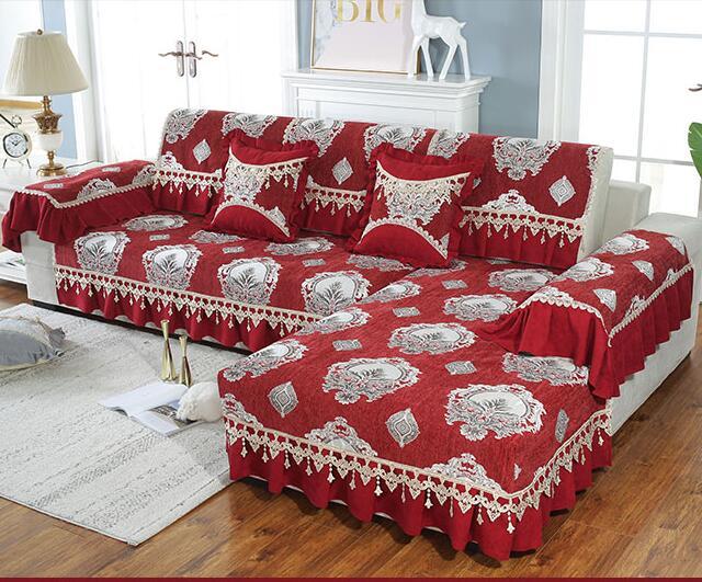 Fyjafon 1 peça capa de sofá para sala de estar jacquard chenille rendas capas de sofá anti-deslizamento toalha europa estilo vermelho 18cm borda