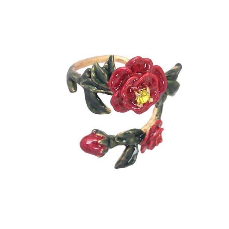 Женское кольцо с эмалью, регулируемое кольцо с красным цветком и инкрустацией из циркония, ручная роспись в европейском и американском стил...