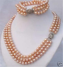 (Minimum Order1) naturel 3 rangées 7-8mm rose Akoya coquille collier de perles Bracelet perles ensemble de bijoux faisant de la pierre naturelle 18 pouces Chai