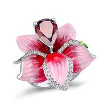 Zirkoon Bloem Ringen Voor Vrouwen Rose Bloem Stemming Belofte Ring Vrouwelijke Sieraden Accessoires Kerst cadeau voor vriendin