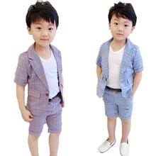 Children Formal Suit Set Summer New Kids Striped Blazer Shorts 2pcs Clothing Sets Flower Boys Weddding Party Performance Costume