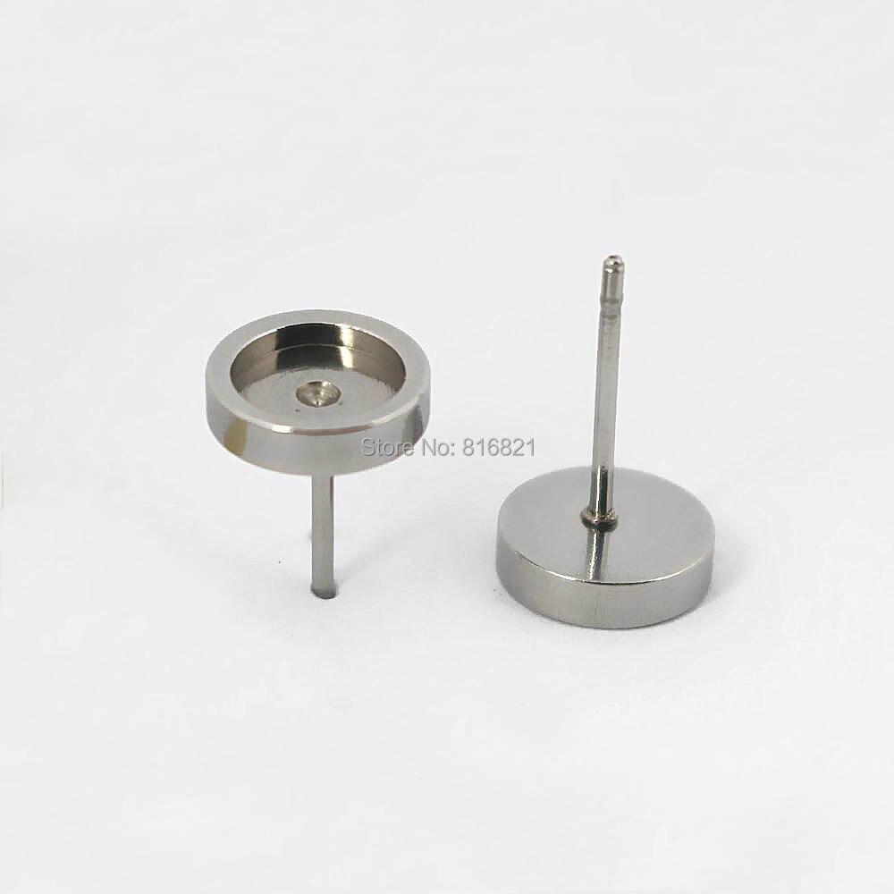 الفولاذ المقاوم للصدأ النقش كابوشون أقراط النتائج مع 6mm 8mm 10mm 12 25mmround الحافة قواعد الأقراط آخر إعدادات DIY الحرف