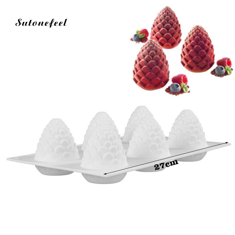 Molde de silicona con forma de piña, molde para pasteles y Mousse, helado de Chocolate, forma de piña, bandeja para hornear, herramienta de decoración de pasteles