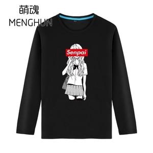 lovely Japanese cartoon JK manga girl Senpai anime charater long sleeve cotton t shirts ac1183