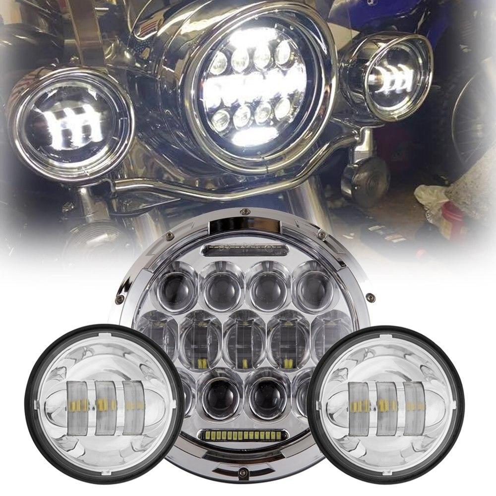 3 unids/set redondo plateado 7 pulgadas 75W LED motocicleta faro más 4,5 pulgadas 30W LED niebla lámpara
