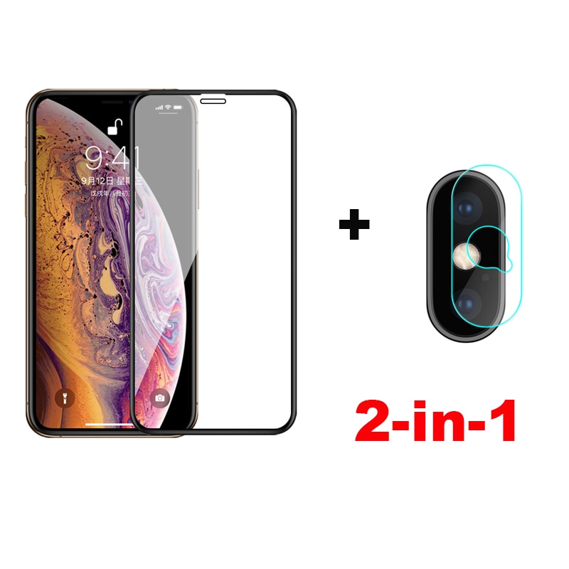 Cristal de lente de cámara 2 en 1 para iPhone X protector de pantalla de vidrio templado para iPhone XS Max Glass para iPhone XS XR película protectora
