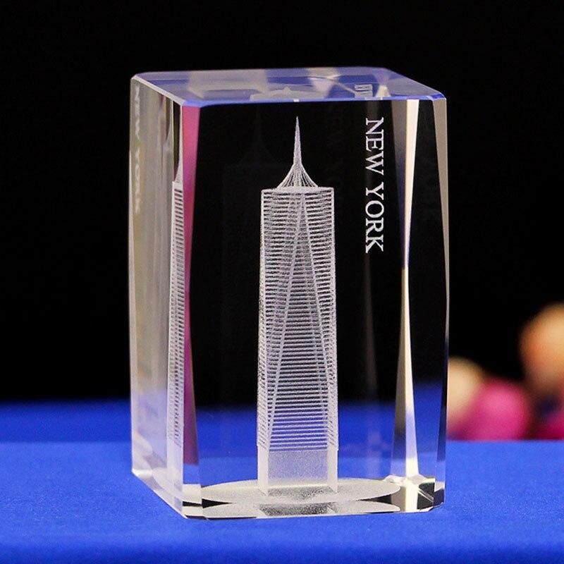 American Free Trade Tower K9 cristal 3D láser estatua escultura intergrabado figurillas miniaturas cristal artes artesanías hogar Dec