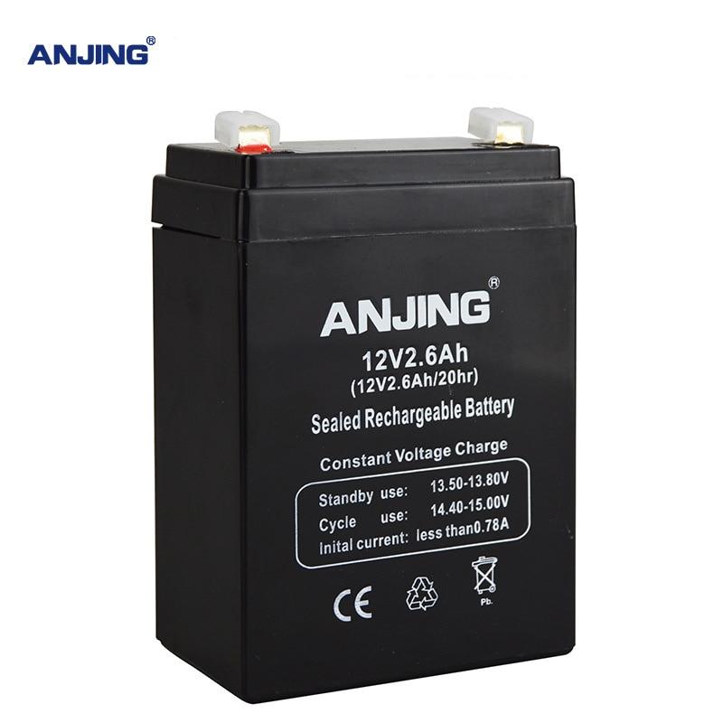 Batería de 12V 2,6 Ah 12V 2,6 Ah para luz LED de emergencia de reserva, juguete para niños, acumulador de plomo y ácido, mantenimiento de reemplazo