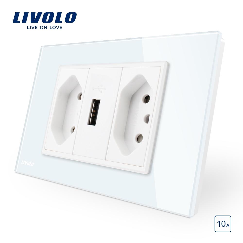 Livolo Brazilian/Italian Standard 3Pins 10A socket with USB, White Glass panel  USB outlet ,  C9C2UBR1-11